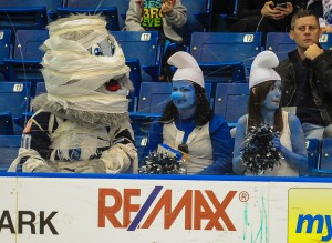 The Saskatoon Blades host the Medicine Hat Tigers at the Credit Union Centre in Saskatoon SK. Wednesday October 30, 2013.