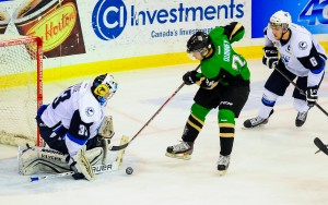 The Saskatoon Blades Host the Prince Albert Raiders at the Credit Union Centre in Saskatoon, SK. December 28, 2013